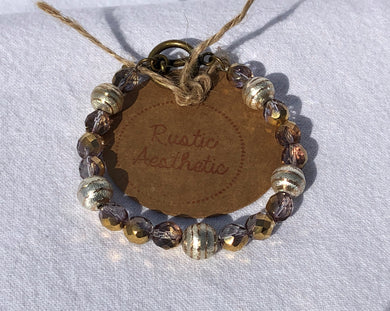 Golden Czech Glass, Copper, Silver & Brass Bracelet