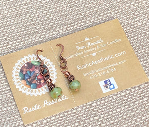 Green Picasso Faceted Czech Glass & Copper Earrings