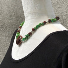 Green Turquoise, Rosewood & Silver Necklace