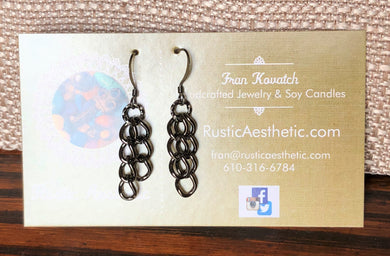Gunmetal Curb Link Chain Earrings