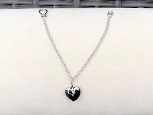 Gunmetal Puff Heart & Antique Silver Bracelet