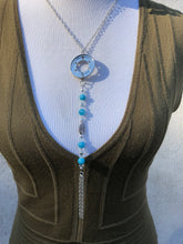 Hard Drive Ring, Aquamarine, Swarovski Crystal, Silver Tassel Necklace