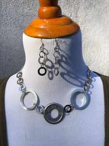 Silver Tone Washer & Stainless Steel Earrings