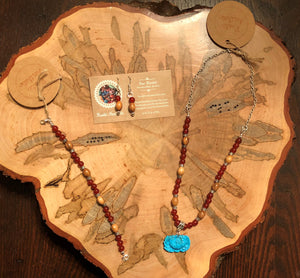 Carnelian & Olive Wood Lotus Necklace
