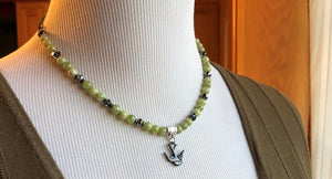 Peridot & Swarovski Swallow Bird Necklace