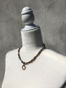 Iridescent Czech Glass, Genuine Copper and Copper Plate Necklace