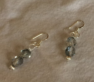 Hint of Blue Czech Glass & Silver Earrings