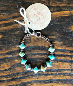Turquoise, Genuine Copper and Copper Plate Bracelet