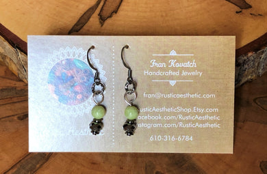 Peridot, Swarovski & Gunmetal Earrings