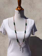 Emerald Green Czech Glass & Copper Key Station Necklace