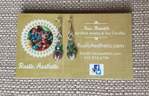 Light Turquoise Swarovski Crystal, Matte Metallic Dichroic Czech Glass & Silver Earrings