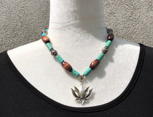 Wood & Turquoise Blue Lotus Necklace