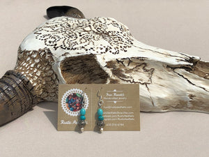 Turquoise Blue & Antique Silver Filigree Earrings
