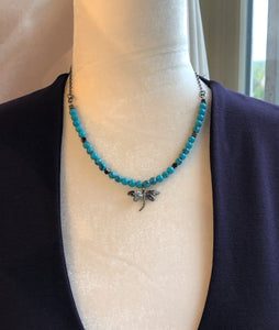 Turquoise Bead & Gunmetal Dragonfly Necklace