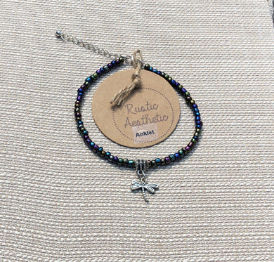Iridescent Japanese Seed Bead & Dragonfly Anklet