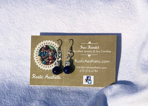 Lapis & Sliver Bali Earrings