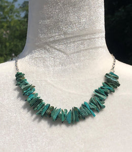 Large Chip Turquoise & Silver Necklace