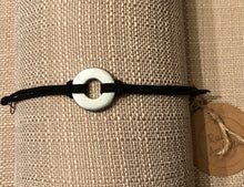 Faux Leather & Silver Universal Washer Bracelet