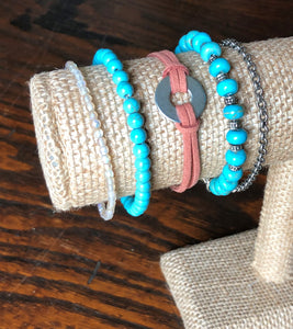 Lemon Czech Glass, Turquoise Blue, Terracotta Faux Leather Universal Washer & Silver Chain Stackable Set of 5 Bracelets