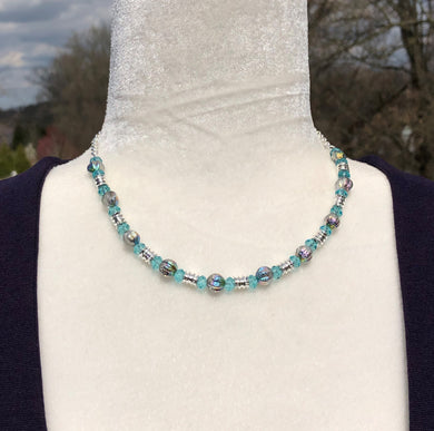 Light Turquoise Swarovski Crystal, Matte Metallic Dichroic Czech Glass & Silver Necklace
