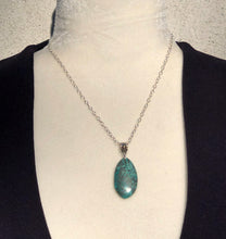 Long Oval Turquoise Solitaire & Silver Necklace