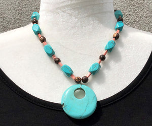 Turquoise Blue, Peach & Wood Necklace