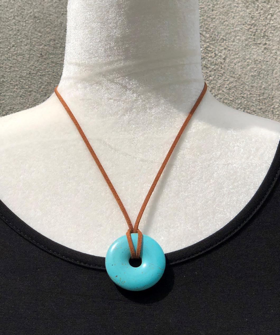 Turquoise Magnesite and Chocolate Faux Leather Boho Necklace