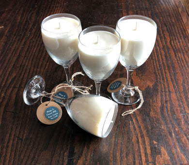 Mango & Coconut Milk Triple Wick Soy Candle in a Wine Glass
