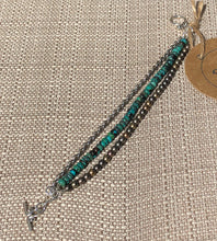 Matte Metallic Czech Glass, Turquoise & Antique Silver Triple Strand Bracelet