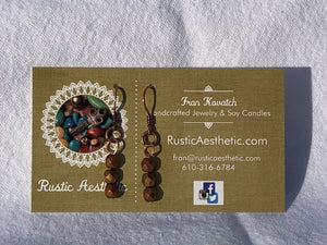 Metallic Czech Glass & Copper Triple Earrings