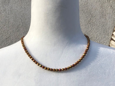 Metallic Matte Czech Glass & Genuine Copper Necklace