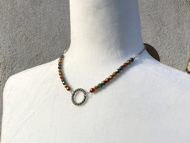 Multi Color Czech Glass & Silver Ring Choker