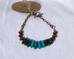 Natural Rhondel Cut Turquoise & Copper Bracelet