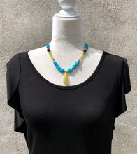 Natural Turquoise, Olive Jade & Pyrite Necklace