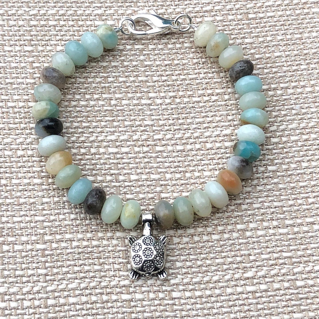 Natural Amazonite Rondelle & Turtle Bracelet