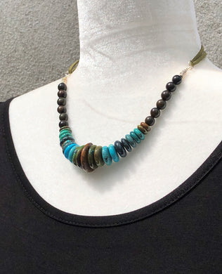 Natural Rhondel Cut Turquoise, Rosewood, Silver & Faux Leather Necklace