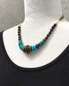 Natural Rhondel Cut Turquoise, Rosewood, Silver & Leather Necklace
