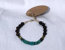 Natural Rhondel Cut Turquoise, Rosewood, Silver & Leather Bracelet