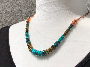 Natural Rhondel Cut Turquoise & Copper Necklace