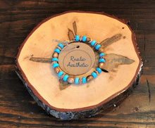 Olive Wood, Copper & Turquoise Bracelet