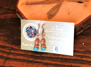 Olive Wood, Copper & Turquoise Earrings