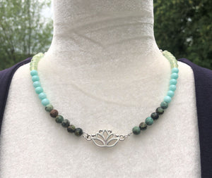 Ombre African Turquoise, Amazonite, Prehnite Lotus Necklace