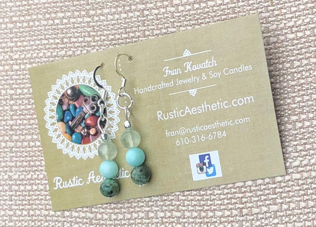 Ombre African Turquoise, Amazonite, Prehnite Earrings