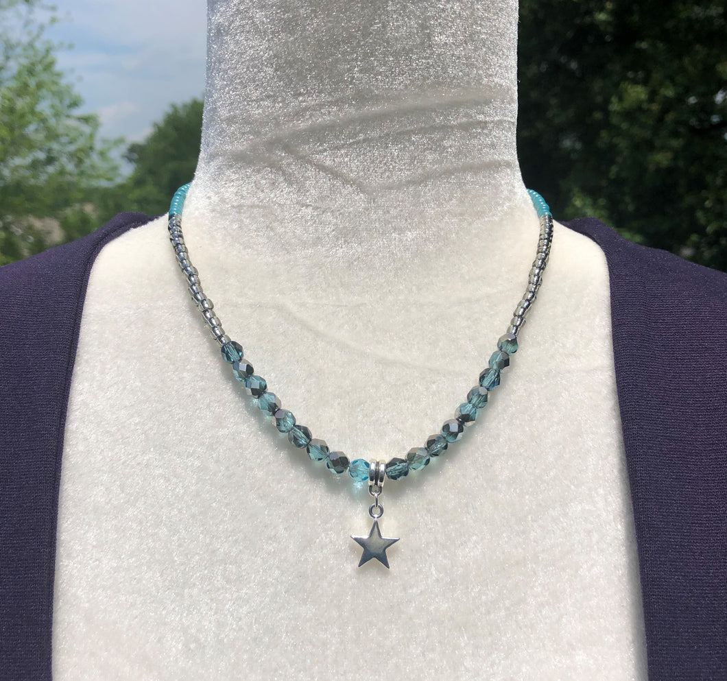 Ombre Aqua Czech Glass, Silver Japanese Seed Bead, Turquoise Czech Glass Seed Bead & Star Necklace