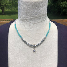 Ombre Matte Silver, Teal & Crystal Aurora Borealis Czech Glass & Shell Necklace