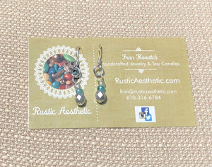 Ombre Matte Silver, Teal & Crystal Aurora Borealis Earrings