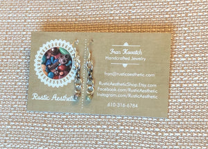 Opalescent Czech Glass & Antique Silver Rolo Chain Earrings