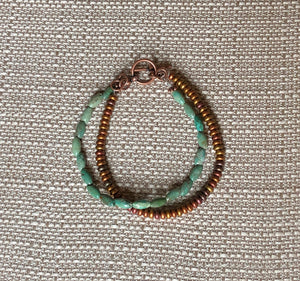 Double Strand Oval Turquoise Matte Metallic Czech Glass & Copper Bracelet