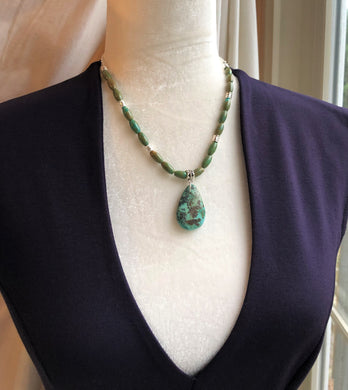 Oval Turquoise and Silver Plate Necklace