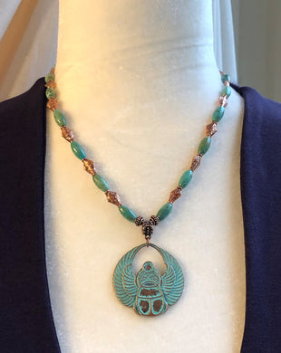 Oval Turquoise & Copper Scarab Necklace